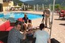 Videodreh auf der Terrasse im Hotel Post Lermoos